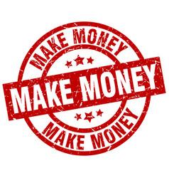 make money round red grunge stamp vector image