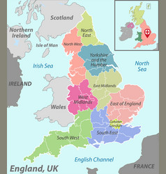 Map england with districts vector