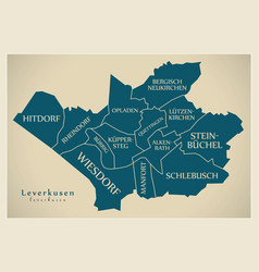 Modern city map - leverkusen city of germany with vector