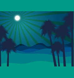 Night in the desert desert landscape vector