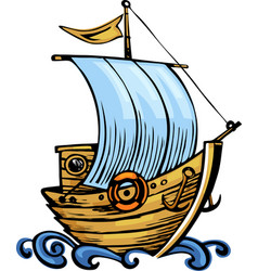 old ship with waves vector image