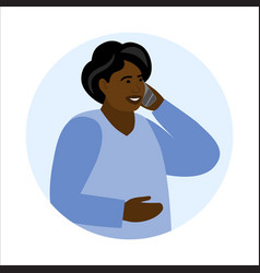Old woman talks mobile phone holding cellular vector