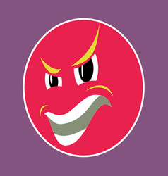 Paper sticker on theme evil emotions face vector