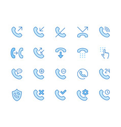 phone call line icons set answer telephone dial vector image