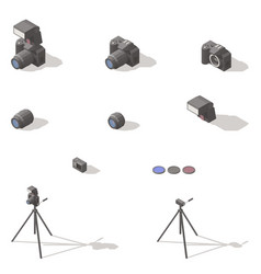 photo and video equipment isometric low poly icon vector image