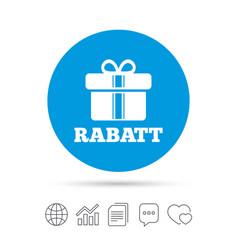 Rabatt - discounts in german sign icon gift vector