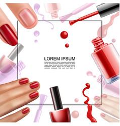 Realistic nail polish design template vector