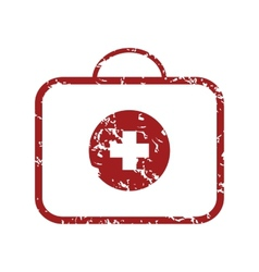 Red grunge doctor bag logo vector