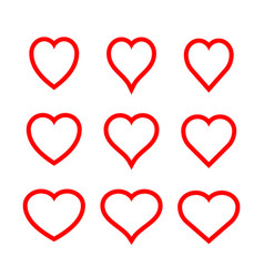 Red symmetric hearts - outline icon set vector