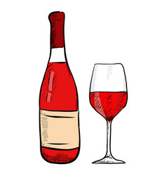 red wine set bottle and glass hand drawn colored vector image