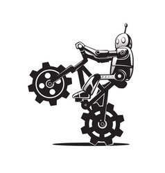 Robot on bicycle vector