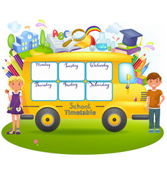 School bus with school timetable vector