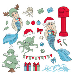 sea christmas set new year color vector image