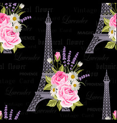 Seamless floral pattern with eiffel towers on vector