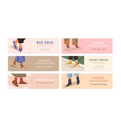 Set woman legs in trendy shoes shopping banner vector