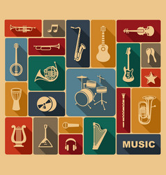 Silhouettes of musical instruments vector
