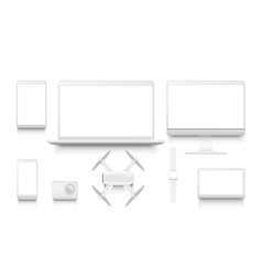 simple white gadgets set desktop computer display vector image