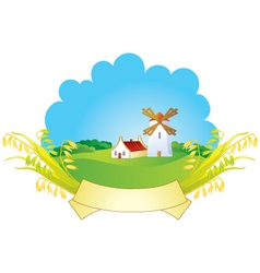 Small village with windmill vector