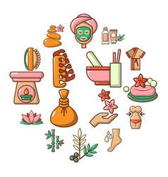 spa salon icons set cartoon style vector image