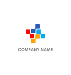 Square connect digital technology logo vector