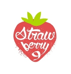 Strawberry Name Of Fruit Written In Its Silhouette vector image