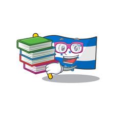 Student bring book cartoon flag honduras in with vector