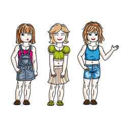 sweet little girls standing wearing casual vector image