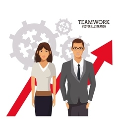 Teamwork people business growth chart gears vector