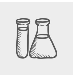 Test tube and beaker sketch icon vector image