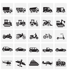 transportation icons set on squares background for vector image