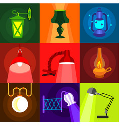Types of light icons set flat style vector