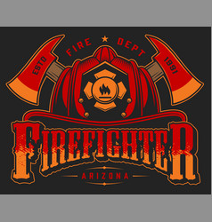 vintage firefighting colorful emblem vector image