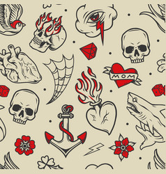 Vintage tattoos seamless pattern vector