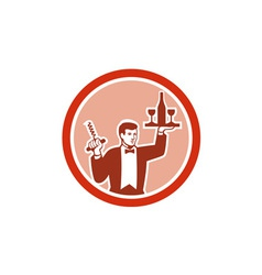 Waiter Serving Wine Holding Corkscrew Retro vector