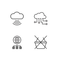 web simple outlined icons set vector image