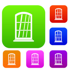 white narrow window set color collection vector image