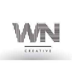 Wn w n black and white lines letter logo design vector