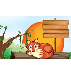 Wooden sign and fox on log vector