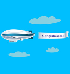 zeppelin with text congratulations vector image