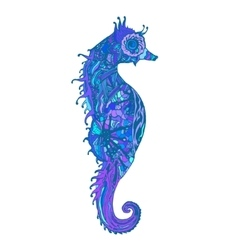 Abstract colored sea horse print vector image vector image