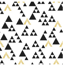 Gold geometric triangle seamless pattern On white vector image