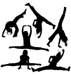 gym girls silhouettes vector image vector image