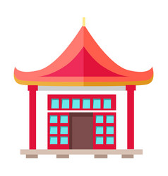 oriental type of building with triangular roof vector image vector image