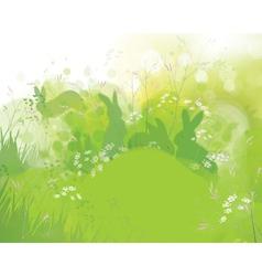 rabbits grass vector image vector image