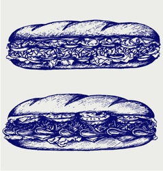 Submarine sandwich vector image