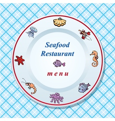 The seafood restaurant menu design vector image