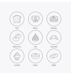 Croissant pretzel and bread icons Cupcake vector image vector image