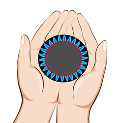 Hands holding a gas burner with a blue flame savin vector image