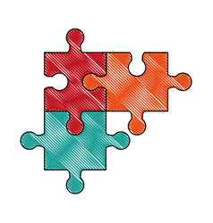 puzzles pieces isolated vector image vector image
