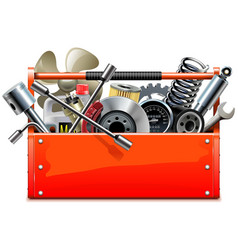 red toolbox with car parts vector image vector image